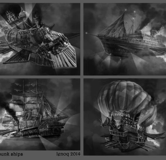 Sketches steampunk ship