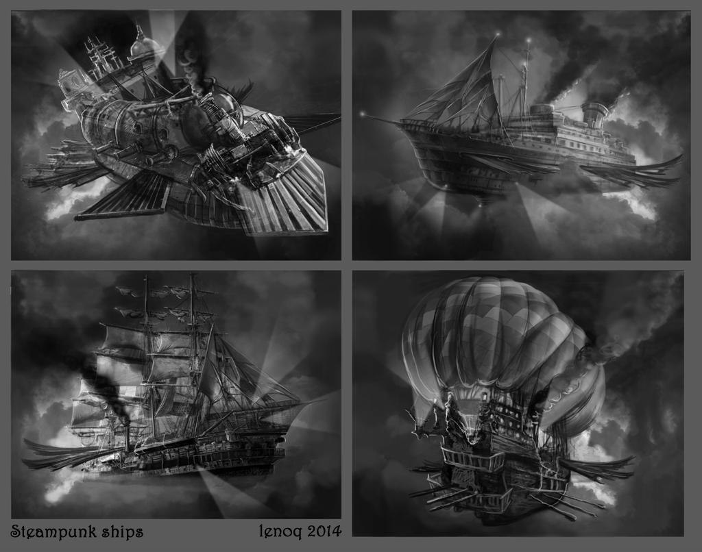 sketches steampunk ship